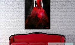Dramatic Living Room with Red and Black Accents