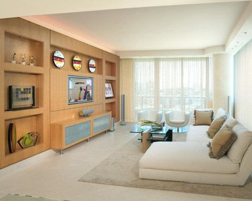 Mid Sized Contemporary Formal Open Concept Living Room Idea In Miami With Beige Walls