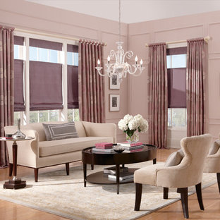 Shabby-Chic-Style Wohnzimmer mit rosa Wandfarbe Ideen, Design ...