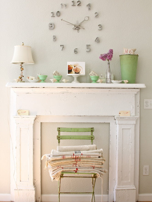 shabbychic style living room idea in other with gray walls and medium tone hardwood - Fake Fireplaces