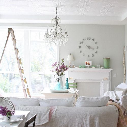 Inspiration For A Shabby Chic Style Living Room Remodel In Other With Gray Walls