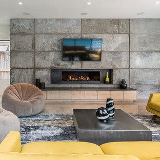 Ispirazione per un grande soggiorno minimalista aperto con sala formale, pareti grigie, pavimento in cemento, camino lineare Ribbon, cornice del camino in cemento e TV a parete