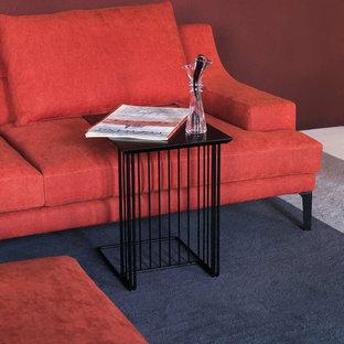Ispirazione per un soggiorno moderno di medie dimensioni e chiuso con sala formale, pareti rosse, moquette, nessun camino, nessuna TV e pavimento blu