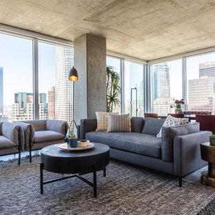 Inspiration For An Industrial Dark Wood Floor And Brown Floor Living Room  Remodel In Los Angeles