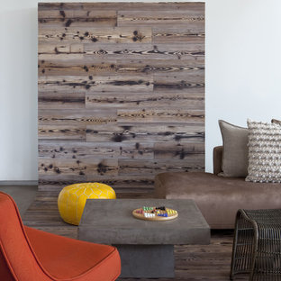 Minimalist living room photo in San Diego with white walls