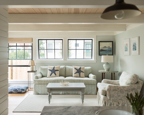 Example Of A Coastal Open Concept Living Room Design In Portland Maine With Blue Walls