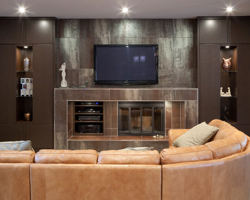 Living Room Mid Sized Contemporary Carpeted And Gray Floor Idea In Other