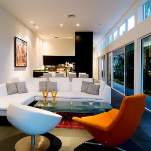 Mid-sized minimalist open concept and formal ceramic floor living room photo in Miami with white walls