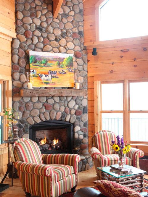River Stone Fireplace river stone fireplace   houzz