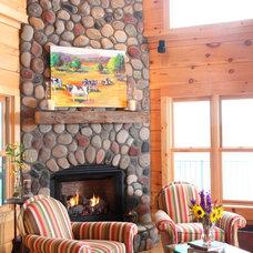 Rustic Living Room by Log Homes of America