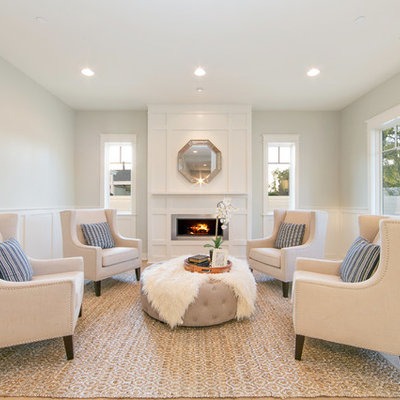 Inspiration for a large timeless formal and enclosed light wood floor living room remodel in Orange County with gray walls, a ribbon fireplace, no tv and a metal fireplace
