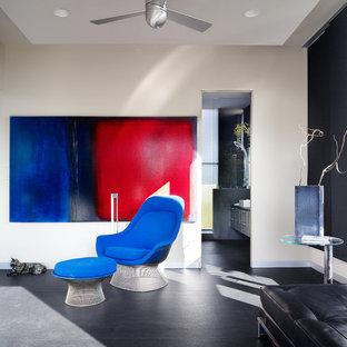 Immagine di un soggiorno moderno con pavimento in cemento