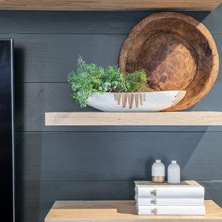 Inspiration för mellanstora moderna separata vardagsrum, med svarta väggar och en väggmonterad TV