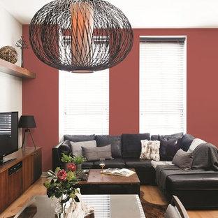 Modernes Wohnzimmer mit roter Wandfarbe in Sonstige