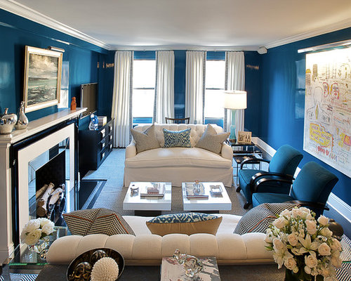 Transitional Living Room Idea In New York With Blue Walls Carpet And A Standard Fireplace