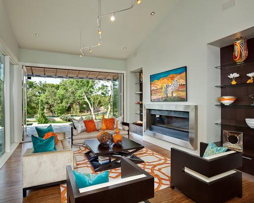 Teal Green Orange Living Room Design Ideas Remodels Photos Houzz