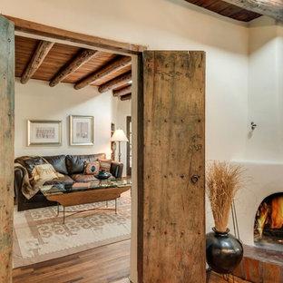 75 Most Popular Southwestern Light Wood Floor Living Room Design