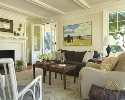 Living Room Plant. Inspiration for a timeless living room remodel in Providence with beige  walls and standard fireplace Living Room Plant Decor Ideas Photos Houzz