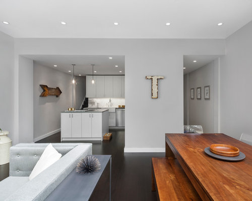 Light Gray Walls Example Of A Mid Sized Minimalist Formal And Open Concept Painted Wood Floor Brown