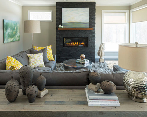 Inspiration For A Mid Sized Contemporary Living Room Remodel In Minneapolis With Beige Walls And