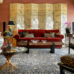 Beautiful Large Zen Formal And Enclosed Living Room Photo In Nashville With Red Walls  And No Tv