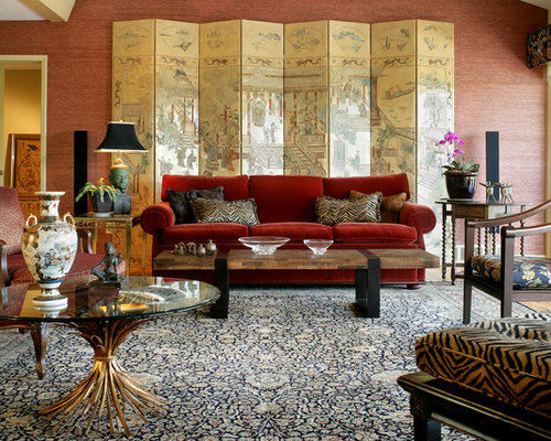 Large Zen Formal And Enclosed Living Room Photo In Nashville With Red Walls  And No Tv Part 40