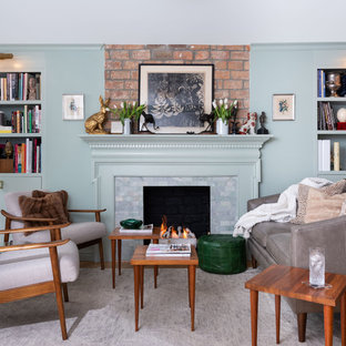 Eclectic Brownstone Living Area with Fireplace - Brooklyn, NY