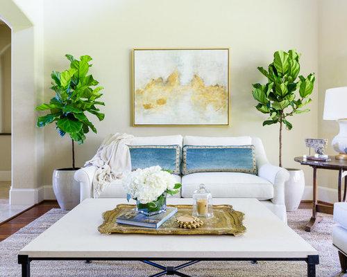 Example Of A Coastal Living Room Design In Houston With Beige Walls, Dark  Hardwood Floors