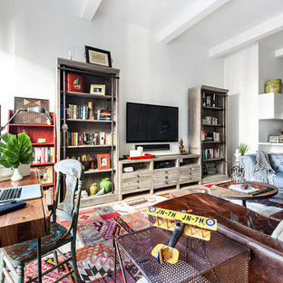 Inspiration for a large eclectic open concept living room remodel in Seattle with white walls, no fireplace and a wall-mounted tv
