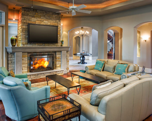 Best cultured stone fireplace design ideas remodel for Lake house living room ideas