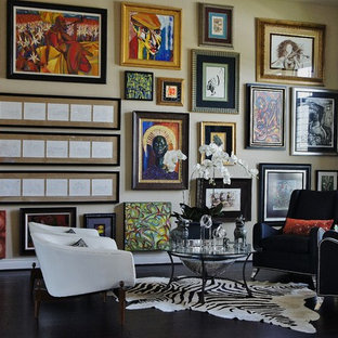 Design ideas for a small eclectic formal open concept living room in Houston with beige walls, dark hardwood floors and no tv.