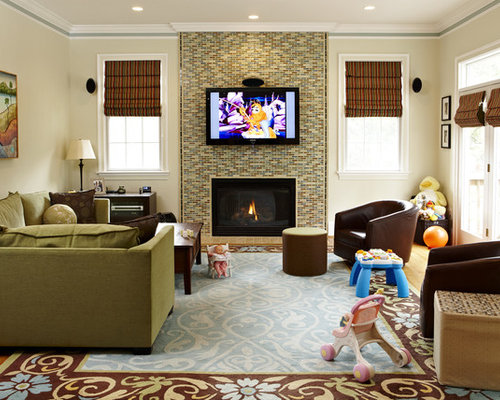 Tv above fireplace home design ideas pictures remodel and decor for Small living room ideas with fireplace