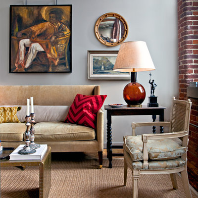 Eclectic living room photo in Nashville with gray walls