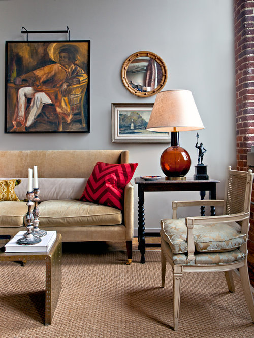 living room lamp shades. Eclectic living room photo in Nashville with gray walls Cow Hide Lamp Shade  Houzz
