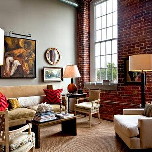 Imagen de salón ecléctico con paredes grises