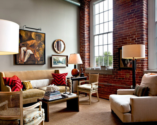 gray walls and red accents | houzz