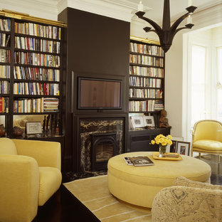 Living room library - eclectic living room library idea in San Francisco