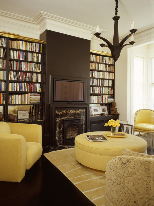 Eclectic Living Room Library Idea In San Francisco Part 87