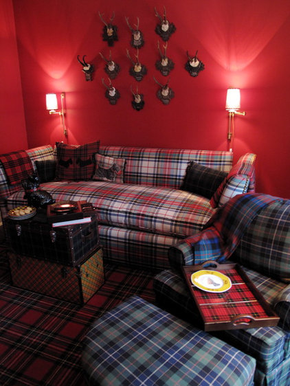 eclectic living room plaid upholstery