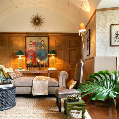 Mid-sized eclectic enclosed dark wood floor living room library photo in New York with beige walls and no tv