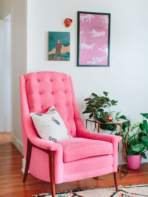 25 Best Eclectic Pink Living Room Ideas, Designs & Remodeling ...