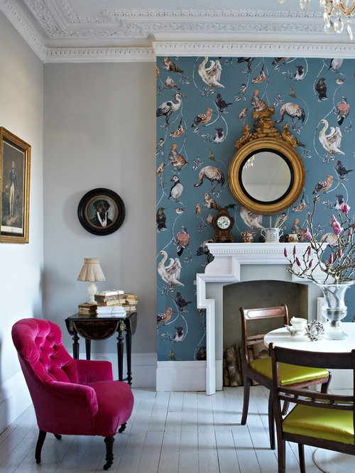 wallpaper designs for living room wall. Mid sized eclectic formal and open concept painted wood floor living room  idea in Sussex Living Room Wallpaper Ideas Houzz
