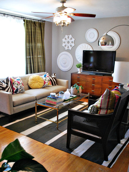 Mid Sized Eclectic Living Room Idea In St Louis With Gray Walls Medium Tone