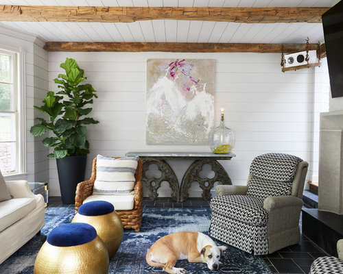 Inspiration For An Eclectic Open Concept Living Room Remodel In Nashville With White Walls A