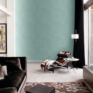 Ejemplo de salón abierto, minimalista, de tamaño medio, con paredes azules
