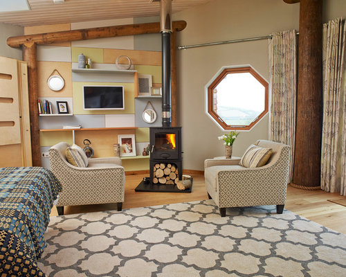 Photo Of A Small Rustic Living Room In Other With Medium Hardwood Flooring,  A Wood Part 89