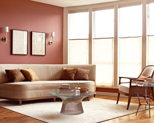 Example Of A Mid Sized Trendy Enclosed Living Room Design In San Francisco With Red
