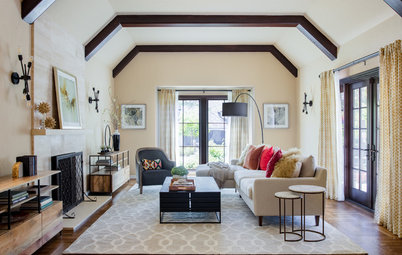 Warm Transitional Style Updates a Casual California Living Room