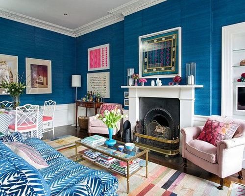 Blue Color Living Room Designs mix patterns and solids to add visual interest image via rachel reider interiors Living Room Photo In Edinburgh
