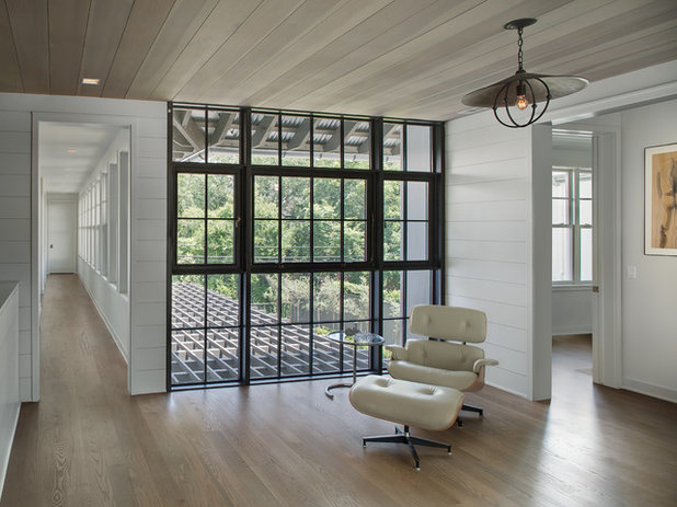 Transitional Living Room by Cusimano Architect
